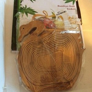 Bamboo Wood Collapsible Swan Fruit Serving Basket